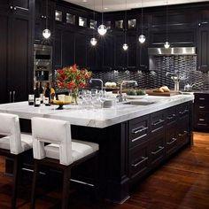 dream kitchen Stunning Elegant Black Kitchen Island Ideas Classy Home - Modern Espresso Kitchen Cabinets, Modern Kitchen Cabinets, Kitchen Cabinet Design, Bar Cabinets, Kitchen Counters, White Cabinets, Black Kitchens, Luxury Kitchens, Home Kitchens
