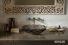Smoky Travertine BathroomFeaturing These Products: