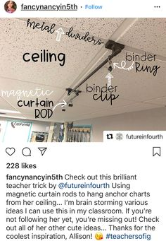 Great idea for hanging anchor charts! 2nd Grade Classroom, Future Classroom, School Classroom, Classroom Setup, Hanging Classroom Decorations, Art Classroom Layout, Classroom Curtains, Library Decorations, Classroom Environment