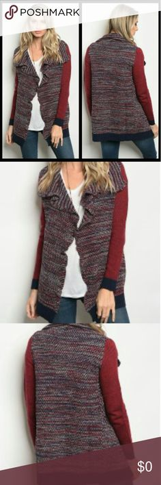 🍷HERE!🍷NAVY & BURGUNDY CARDIGAN Get ready for cooler weather with this trendy navy and burgundy cardigan. 45% Acrylic 20% Polyester 15% Viscose 5% Wool THML Sweaters Cardigans