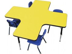 Maybe put 4 desks like this with a spare desk in center?