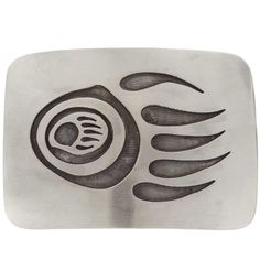 This overlaid Silver Bear Paw Belt Buckle has a Native American design that represents inner strength.