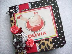 Chipboard Mini Album Olivia the Pig w/Premade by ljbminis2021, $15.99