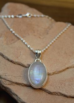 """Rainbow Moonstone Sterling Silver 1 1/2"""" Pendant & SS Chain for Healing #Handmade #Chain"""