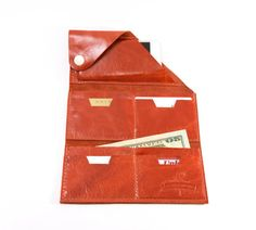 Leather Wrap Wallet The Constance in Paprika by RobbieMoto on Etsy