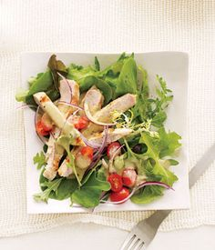 Leafy Grilled Chicken Salad With Creamy Balsamic Dressing