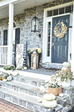 A white-out of pumpkins creates a pretty and attention grabbing fall front porch. Get tips to create pretty outdoor fall decorating Fall Home Decor, Autumn Home, Autumn Fall, Winter, White Mums, Small Front Porches, Patio String Lights, Porch Decorating, Decorating Ideas