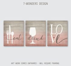 Kitchen Wall Art Print Set Eat Drink Love Utensils Wine Dust Brown Blush Watercolor Texture Home Decor Set of Many Sizes Unframed Coral Watercolor, Watercolor Texture, Wall Art Decor, Wall Art Prints, Typography Love, Kitchen Wall Art, Kitchen Canvas Art, Interior Design Tips, Home Improvement Projects
