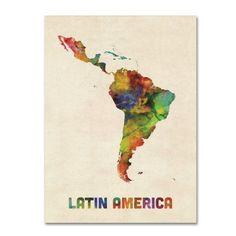 Trademark Fine Art 'South America Watercolor Map' Canvas Art by Michael Tompsett, Multicolor