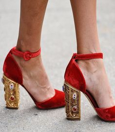 Red velvet plush sandals with an embellished heel