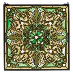 Meyda Tiffany Victorian Lace Knotwork Stained Glass Window - 98260
