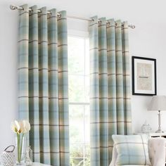 Duck Egg Highland Check Lined Eyelet Curtains | Dunelm