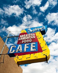 A fine art photo of Jerry's Mexican American Food Cafe neon sign in Albuquerque, New Mexico.