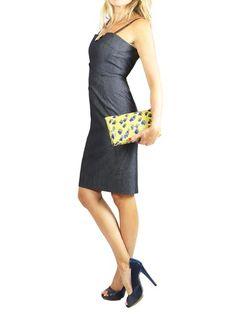 DONNA KARAN Denim Blue Dress. US 2 $125 http://www.boutiqueon57.com/products/donna-karan-denim-blue-dress-us-2