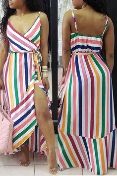 Sum All Chic, Shop Pink Rainbow Striped Spaghetti Strap Belt Pleated High-Low Bohemian Beachwear Maxi Dress online. Black Floor Length Dress, Floor Length Dresses, Rainbow Outfit, Denim Fashion, Women's Fashion, V Neck Dress, Beachwear, Fashion Dresses, Stylish