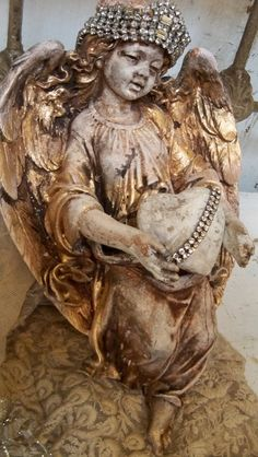Angel wall statue decor distressed gold white by AnitaSperoDesign, $175.00