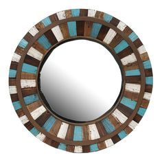 Round Reclaimed Wall Mirror in Brown