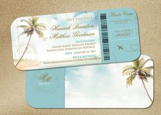 Wedding boarding pass Save the Dates shown here for your travel destination wedding in Punta Cana, Mexico, Jamaica, Cabo and more. Vintage palms theme in turquoise aqua blue with monogram and travel stamps decor. Can be customized in any color from your wedding palette, offering full custom. Save the date is 9x4 printed on 100 lb. matte card stock for good durability and more natural look. Comes with cream envelopes. Minimum print order of 20 sets (invite/envelope) x $3.50/set. Pri...