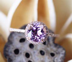 Amethyst Ring,7mm Round Cut Amethyst Engagement Ring,Halo Diamonds,Half Eternity Pave,14K Rose Gold Engagement Ring,Stackable Ring,Gold Ring by LeRhin on Etsy https://www.etsy.com/listing/287064823/amethyst-ring7mm-round-cut-amethyst