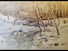 Transparent Watercolor Demonstration Snowy Winter Scene