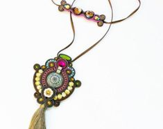 On SALE Soutache handmade jewelry. Cord necklace. Handmade statement soutache. Flashy jewelry. Unique gift for her.