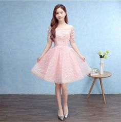 Pink Off-Shoulder Bridesmaids Short Party Evening Dress Ball Gown Prom Lace Up
