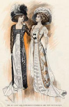 Fashion History: Edwardian Style of the Late - Big big hats. Love the look. 1900s Fashion, Edwardian Fashion, Vintage Fashion, Fashion Women, Baroque Fashion, Women's Fashion, Fashion Prints, Fashion Watches, Edwardian Dress