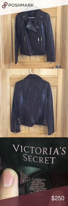 Dark Brown Leather Jacket Dark Brown Leather Jacket from Victoria Secret  Size Small  Brand New - Never Been Worn  Nothing wrong with the jacket - the sleeves were just a little short for my liking and my long arms Victoria's Secret Jackets & Coats