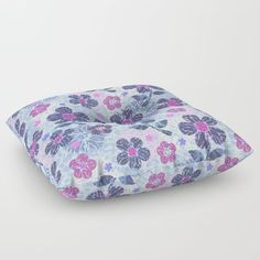 flowers mix Floor Pillow #flowers #pillow #blue #pattern #kids #girls #deco #homedeco #childrenroom #floor
