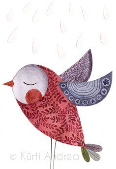 Bird with pretty patterns by illustrator Andrea Kürti