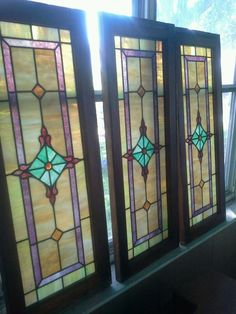 1920s Art Deco Leaded Stained Glass Windows Set of 3 Vintage In Original Wood