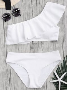 Textured Ruffle One Shoulder Bikini Set - WHITE M