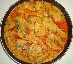 Chicken is cooked in a rich sauce of onions, yogurt and nuts. It could be served with Baghara Chaawal (Fried Rice) or Stir fried India...
