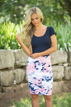 Secretly In Love Floral Skirt Blush