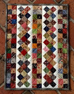 Cascadia - Great scrap quilt - 17 x 19 inches. Simplified version of Cascadia Mystery quilt. Jellyroll Quilts, Lap Quilts, Patchwork Quilting, Scrappy Quilts, Small Quilts, Mini Quilts, Quilt Baby, Quilt Block Patterns, Quilt Blocks