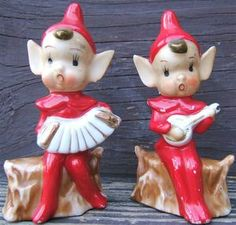 Vintage PIXIE ELVES BANJO ACCORDIAN Ceramic Figurines JAPAN TWO PIXIES 1950s Vintage Santa Claus, Vintage Santas, Vintage Christmas, Christmas Ideas, Nutcracker Christmas, Christmas Figurines, Brownie Fairy, Vintage Love, Xmas Decorations