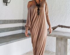 Taupe Maxi Dress / Taupe Kaftan / Asymmetric by SynthiaCouture