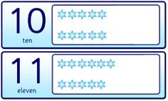 Number display cards - 0-20. With a theme of snowflakes or baubles