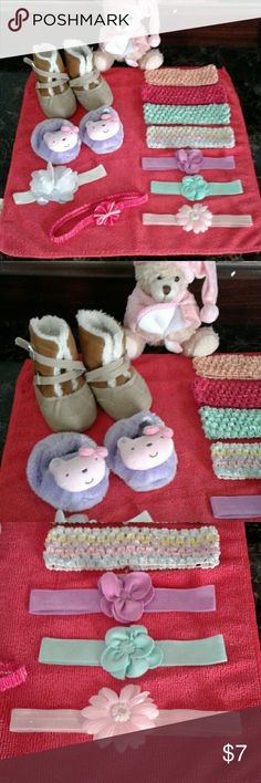 Baby girl bundle New pair of boots!!!!! Gerber sleepers and 9 headbands, All in good care condition Ruggedbear Accessories