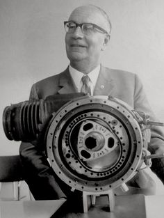 Dr. Felix Wankel with the first prototype of his rotary engine in 1957, which had a rotating inner chamber, unlike all later Wankels   Dr ...