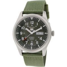 Seiko 5 Sport Automatic Khaki Green Canvas Mens Watch SNZG09 - Walmart.com