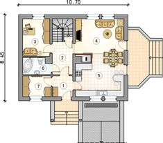 Projekt domu AT Rumiankowa Chata Bis CE - DOM - gotowy koszt budowy Floor Plans, How To Plan, Arquitetura, Floor Plan Drawing, House Floor Plans