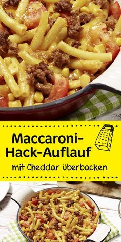 This yummy macaroni hamburger casserole with cheddar brings all the .- Dieser leckere Maccaroni-Hack Auflauf mit Cheddar bringt alle an den Tisch! This yummy macaroni hamburger casserole with cheddar brings everyone to the table! Casserole Recipes, Pasta Recipes, Dinner Recipes, Cooking Recipes, Healthy Recipes, Macaroni Recipes, Macaroni Hamburger Casserole, Comida Diy, Queso Cheddar