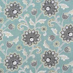Braemore Ankara Pond Fabric - awsome for drapes or coordinating pillows, etc Grey Fabric, Satin Fabric, Linen Fabric, Jacobean, Printed Linen, Home Decor Fabric, Drapery Fabric, Fabric Patterns, Fabric Design