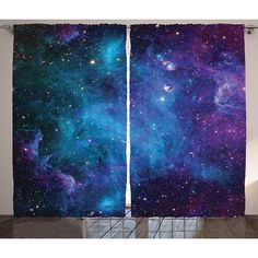 Amazon.com: Space Decor Window Curtains by Ambesonne, Galaxy Stars in... ($65) ❤ liked on Polyvore featuring home, home decor, window treatments, curtains, dark blue curtains, purple home accessories, purple curtains, midnight blue curtains and navy blue window treatments