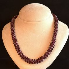 Garnet Beaded Necklace, Natural Purple Garnet Beaded Necklace with Sterling Silver Clasp, Statement Beaded Necklace, Purple Garnet Jewelry Beaded Statement Necklace, Gemstone Necklace, Handmade Necklaces, Handmade Jewelry, Garnet Jewelry, Necklace Lengths, Just For You, Jewelry Making, Gemstones