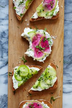 herb goat cheese & radish tartines.