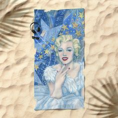 """Marilyn, Old Hollywood, celebrity portrait Beach Towel by Clipso-Callipso 