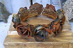 Large crown handmade rusty metal floral design by AnitaSperoDesign, $175.00