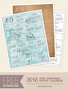2018 Free printable poetry calendar
